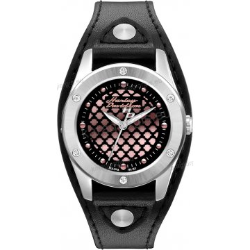 Ρολόι HARLEY DAVIDSON γυναικείο με περικάρπιο μαύρο δερμάτινο λουράκι 32mm
