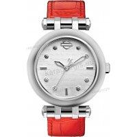 Ρολόι HARLEY DAVIDSON γυναικείο με κόκκινο δερμάτινο λουράκι 36mm