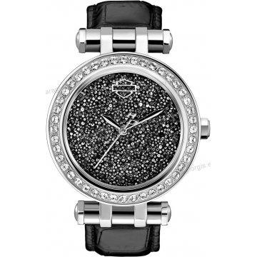 Ρολόι HARLEY DAVIDSON γυναικείο με μαύρο δερμάτινο λουράκι και πέτρες στη στεφάνη 36mm