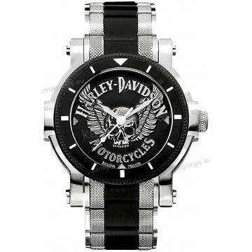 Ρολόι HARLEY DAVIDSON ανδρικό-γυναικείο με δίχρωμο μαύρο μπρασελέ 42mm