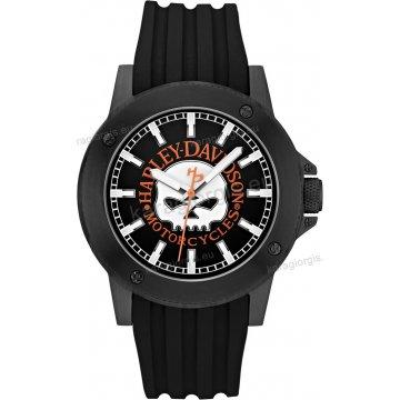 Ρολόι HARLEY DAVIDSON ανδρικό-γυναικείο με μαύρο λουράκι σιλικόνης 43mm
