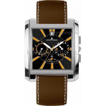 Ρολόι JACQUES LEMANS τετράγωνο χρονογράφος αντρικό με δερμάτινο λουράκι 38mm