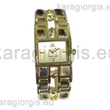 Ρολόι JLO JENNIFER LOPEZ επίχρυσο βραχιόλι με δέρμα στο μπρασελέ 24mm