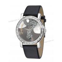 Ρολόι Just Cavalli γυναικείο στρογγυλό με μαύρο δερμάτινο λουράκι και πέτρες στη στεφάνη 40mm