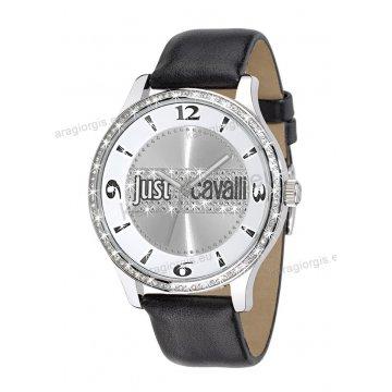 Ρολόι Just Cavalli γυναικείο στρογγυλό με πέτρες στο καντράν και στη στεφάνη και μαύρο δερμάτινο λουράκι 38mm
