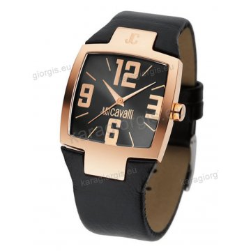 Ρολόι Just Cavalli αντρικό-γυναικείο τετράγωνο rose gold και μαύρο δερμάτινο λουράκι 40mm