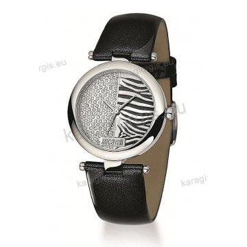 Ρολόι Just Cavalli γυναικείο στρογγυλό με πέτρες στο καντράν και μαύρο δερμάτινο λουράκι 30mm