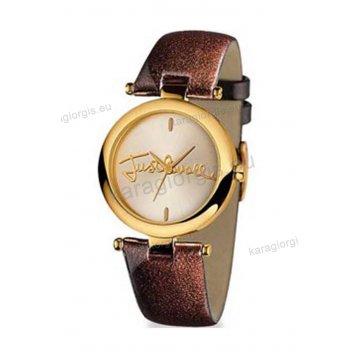 Ρολόι Just Cavalli γυναικείο στρογγυλό επίχρυση κάσα και καφέ δερμάτινο λουράκι 30mm