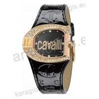 Ρολόι Just Cavalli γυναικείο οβάλ επίχρυση κάσα πέτρες στη στεφάνη και άσπρο δερμάτινο λουράκι 38mm