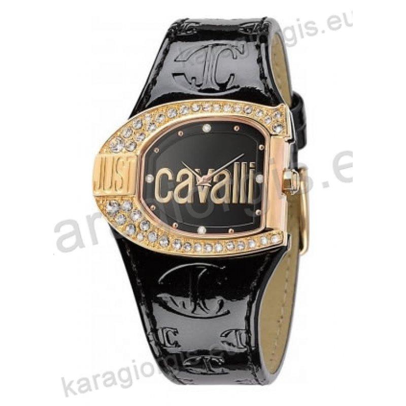 Ρολόι Just Cavalli γυναικείο οβάλ επίχρυση κάσα πέτρες στη στεφάνη και  άσπρο δερμάτινο λουράκι 38mm dec6e3abae5