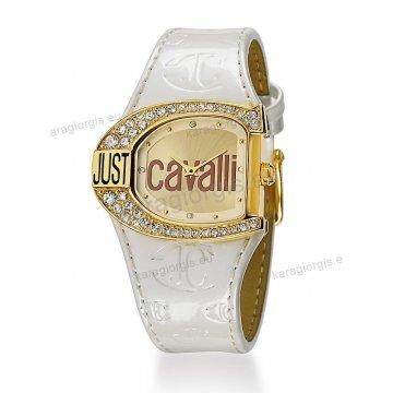 Ρολόι Just Cavalli γυναικείο οβάλ επίχρυση κάσα πέτρες στη στεφάνη και μαύρο δερμάτινο λουράκι 38mm