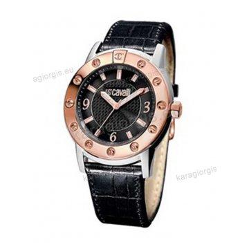 Ρολόι Just Cavalli αντρικό-γυναικείο στρογγυλό δίχρωμο rose gold με μαύρο δερμάτινο λουράκι 42mm
