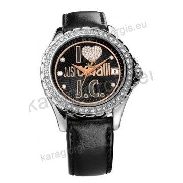 Ρολόι Just Cavalli γυναικείο στρογγυλό με πέτρες στο καντράν και στη στεφάνη και μαύρο δερμάτινο λουράκι 43mm