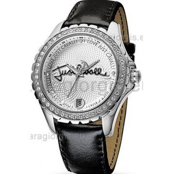 Ρολόι JUST CAVALLI με μαύρο δερμάτινο λουράκι 40mm