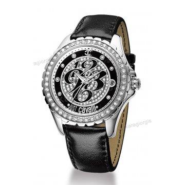Ρολόι Just Cavalli γυναικείο στρογγυλό με πέτρες στο καντράν και στη στεφάνη με μαύρο δερμάτινο λουράκι 43mm