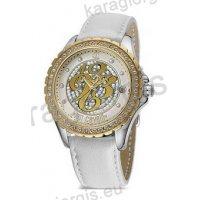 Ρολόι Just Cavalli γυναικείο στρογγυλό επίχρυσο με πέτρες στο καντράν και στη στεφάνη με άσπρο δερμάτινο λουράκι 43mm