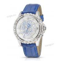 Ρολόι Just Cavalli γυναικείο στρογγυλό πέτρες στο καντράν και στη στεφάνη με μπλε δερμάτινο λουράκι 43mm