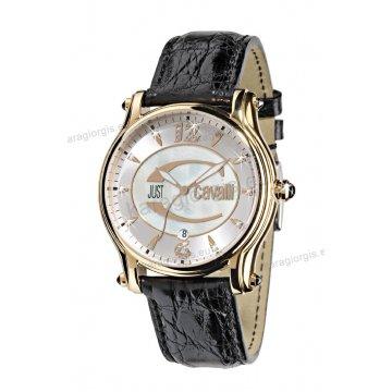 Ρολόι Just Cavalli γυναικείο στρογγυλό επίχρυσο πέτρες στο καντράν με μαύρο δερμάτινο λουράκι 43mm