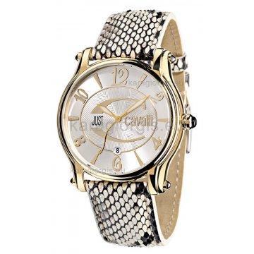 Ρολόι JUST CAVALLI επίχρυσο με δερμάτινο λουράκι 40mm
