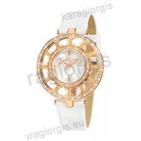 Ρολόι Just Cavalli γυναικείο στρογγυλό επίχρυσο με πέτρες και άσπρο δερμάτινο λουράκι 40mm