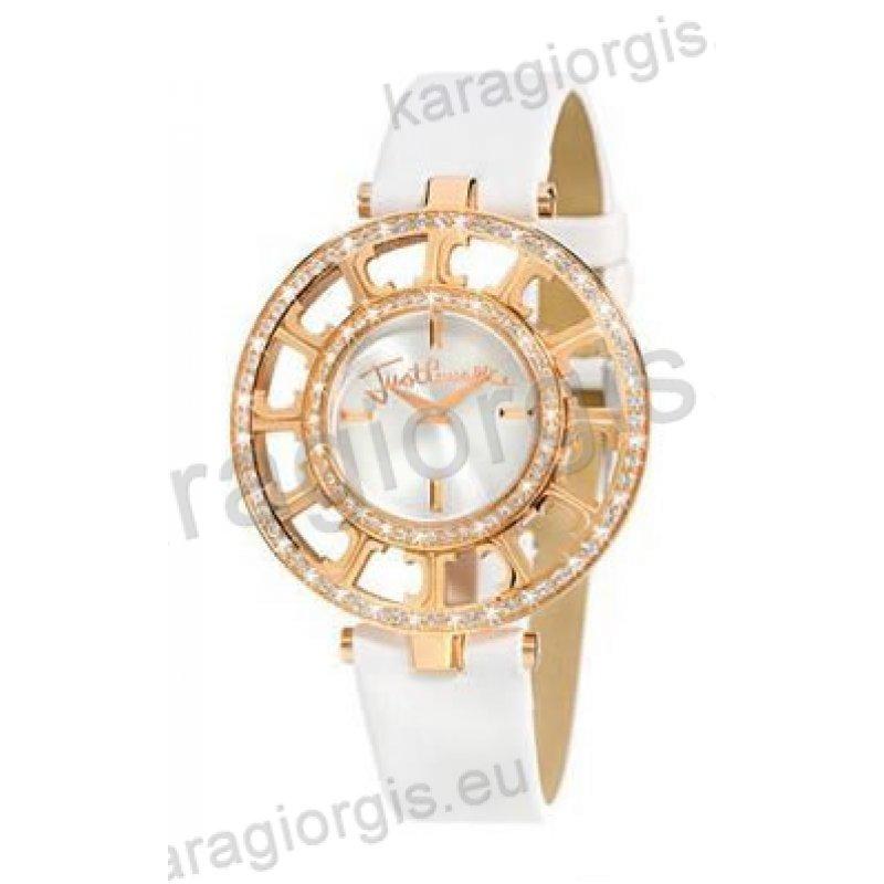 Ρολόι Just Cavalli γυναικείο στρογγυλό επίχρυσο με πέτρες και άσπρο δερμάτινο  λουράκι 40mm 5b6c135c2f1