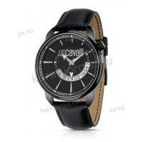 Ρολόι Just Cavalli ανδρικό-γυναικείο στρογγυλό μαύρο με μαύρο δερμάτινο λουράκι 45mm