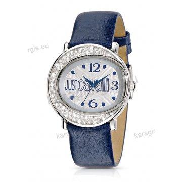 Ρολόι Just Cavalli γυναικείο στρογγυλό με πέτρες στη στεφάνη και μπλε δερμάτινο λουράκι 38mm
