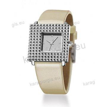 Ρολόι Just Cavalli γυναικείο τετράγωνο με ταμπά δερμάτινο λουράκι 33*31mm