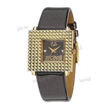 Ρολόι Just Cavalli γυναικείο τετράγωνο επίχρυσο με μαύρο δερμάτινο λουράκι 33*31mm