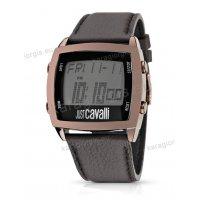 Ρολόι Just Cavalli ανδρικό-γυναικείο digital τετράγωνο μπρονζέ με καφέ δερμάτινο λουράκι 47*43mm