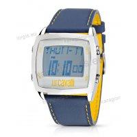 Ρολόι Just Cavalli ανδρικό-γυναικείο digital τετράγωνο με μπλε δερμάτινο λουράκι 47*43mm