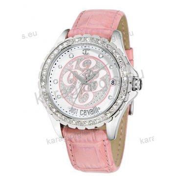 Ρολόι Just Cavalli γυναικείο στρογγυλο με ροζ δερμάτινο λουράκι 43mm