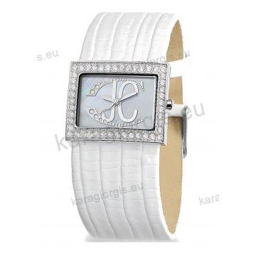 Ρολόι JUST CAVALLI τετράγωνο με άσπρο δερμάτινο λουράκι 35mm