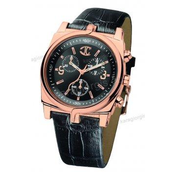 Ρολόι Just Cavalli ανδρικό-γυναικείο στρογγυλό rose gold χρονογράφος με μαύρο δερμάτινο λουράκι 42mm