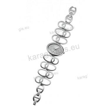 Ρολόι Just Cavalli γυναικείο στρογγυλό ασημί καντράν με σπαστό μπρασελέ 32*27mm