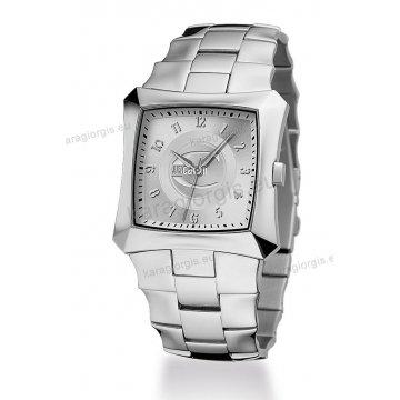 Ρολόι Just Cavalli ανδρικό-γυναικείο τετράγωνο ασημί καντράν με μπρασελέ 39mm