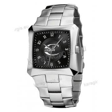 Ρολόι Just Cavalli ανδρικό-γυναικείο τετράγωνο μαύρο καντράν με μπρασελέ 39mm