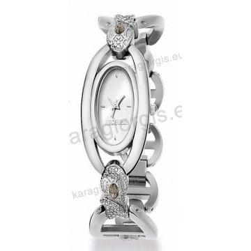 Ρολόι Just Cavalli ανδρικό-γυναικείο οβαλ ασημί καντράν με μπρασελέ 20*28mm