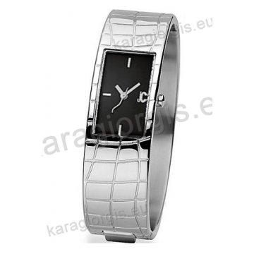 Ρολόι Just Cavalli ανδρικό-γυναικείο τετράγωνο ασημί καντράν με πέτρες και μπρασελέ σε βραχιόλι 21*29mm