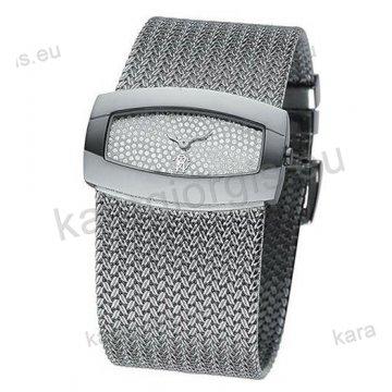 Ρολόι Just Cavalli ανδρικό-γυναικείο τετράγωνο ασημί καντράν με πέτρες και μπρασελέ σε βραχιόλι 40*24mm