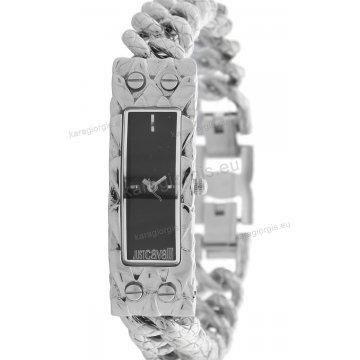 Ρολόι Just Cavalli γυναικείο τετράγωνο μαύρο καντράν με μπρασελέ 15*44mm