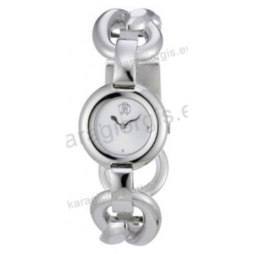 Ρολόι Just Cavalli γυναικείο στρογγυλό ασημί καντράν με μπρασελέ 30mm