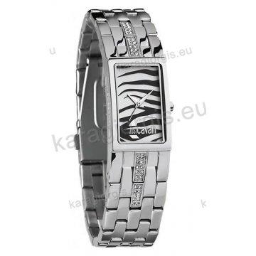 Ρολόι Just Cavalli γυναικείο τετράγωνο ασημί καντράν με μπρασελέ 20mm