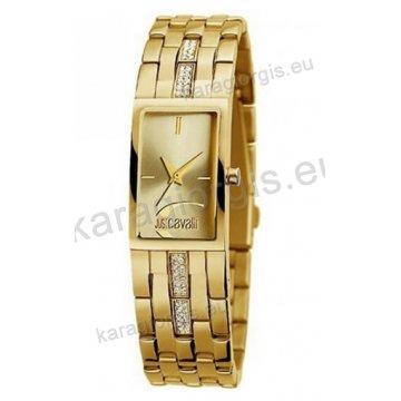 Ρολόι Just Cavalli γυναικείο τετράγωνο επίχρυσο με χρυσαφί καντράν και  μπρασελέ 20mm f0469a85aed