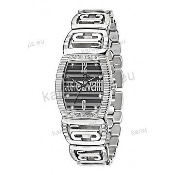 Ρολόι Just Cavalli γυναικείο τετράγωνο με μαύρο καντράν με πέτρες και  μπρασελέ 30 30mm 72c4fe50300
