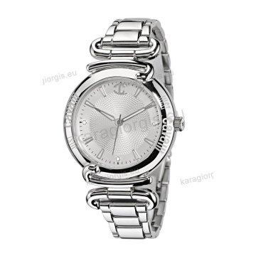 Ρολόι Just Cavalli γυναικείο στρογγυλό ασημί καντράν με μπρασελέ 38mm 98c06d47bbe