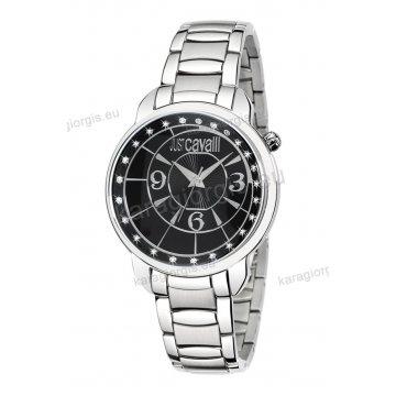 Ρολόι Just Cavalli ανδρικό-γυναικείο στρογγυλό μαύρο καντράν με μπρασελέ  40mm a099c75479d