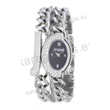 Ρολόι Just Cavalli γυναικείο οβαλ μαύρο καντράν με μπρασελέ σε βραχιόλι  28 32mm a9425cc3438