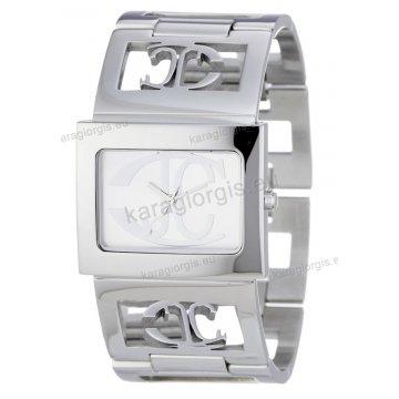 Ρολόι Just Cavalli γυναικείο τετράγωνο ασημί καντράν με μπρασελέ 34 28mm d8cb3ac5762