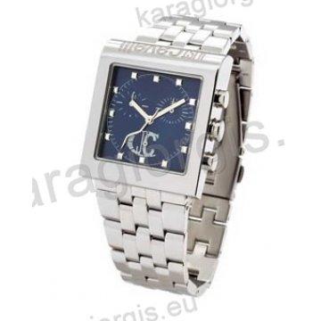 Ρολόι Just Cavalli ανδρικό-γυναικείο τετράγωνο μπλέ καντράν χρονογράφος με  μπρασελέ 37 38mm d28a3b661ad